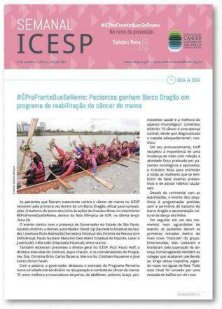 Foto 14 - Texto e foto veiculados no jornal eletrônico semanal do ICESP, em outubro de 2017