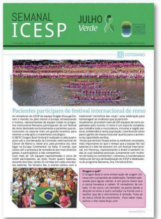 Foto 15 - Texto e foto veiculados no jornal eletrônico semanal do ICESP, em julho de 2018